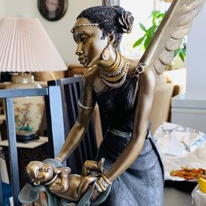 Black Woman Angel With Child Statue.
